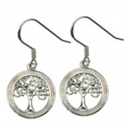 Silver Earrings Snow Opal Tree Of Life