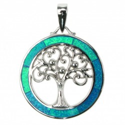 Silver Blue Opal Tree Of Life Necklace
