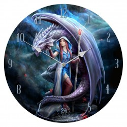 Anne Stokes Wooden Clock Dragon Mage