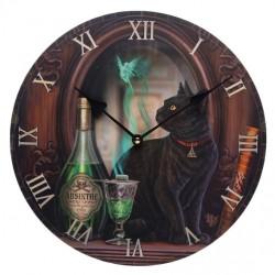 Lisa Parker Wooden Clock Absinthe Cat