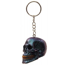 Skull Keyring Metallic Blue