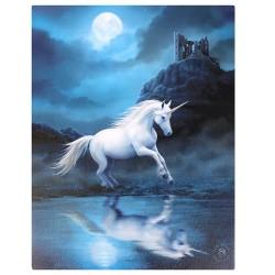 Anne Stokes Small Canvas Print Moonlight Unicorn