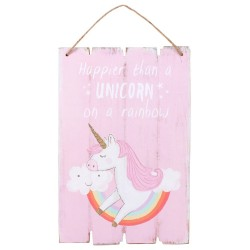Wooden Wall Plaque Happier Than A Unicorn