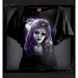 Spiral Direct Goth Doll Ladies Boat Neck Top