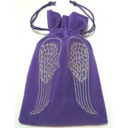 Tarot/Oracle Card Velvet Bag Angel Wings Purple