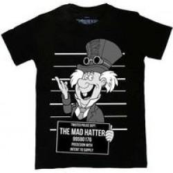 Twisted Apparel Alice In Wonderland Mad Hatter Mug Shot T-Shirt